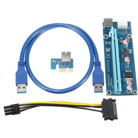 USB 3.0 PCI-E Express 1x A 16x Adaptador de tarjeta de extensión + 15Pin-6Pin Cable LAVENTE