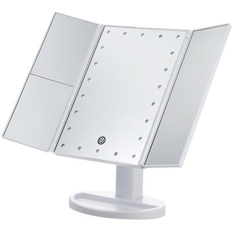 USB/Battery Operated Tri-Folded LED Vanity Table Makeup Mirror,White