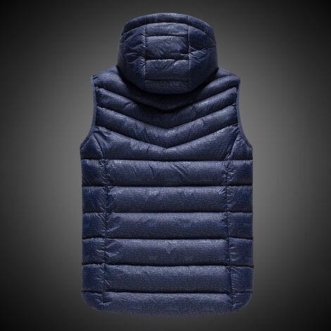 USB climatizada caliente de Seguridad Inteligente otono y chaleco de invierno con el sombrero de los hombres al aire libre de la motocicleta chaqueta de esqui azul, azul, BL2XL