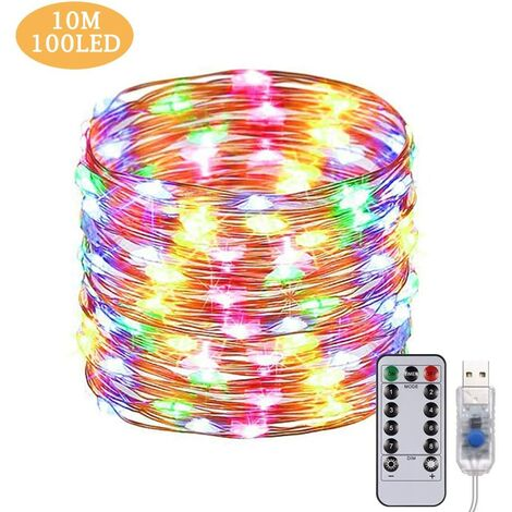 USB LED Fairy Lights 10 m 100 LEDs Remote Control Copper Wire String Lights Waterproof IP65 Mood Lights for Rooms, Christmas Decoration, Wedding, Bedroom, Homes, Party Multicoloured