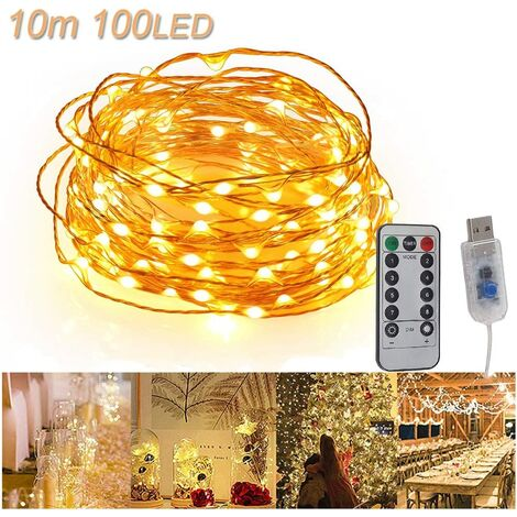 USB LED Fairy Lights 10 m 100 LEDs Remote Control Copper Wire String Lights Waterproof IP65 Mood Lights for Rooms, Christmas Decoration, Wedding, Bedroom, Homes, Party Warm White