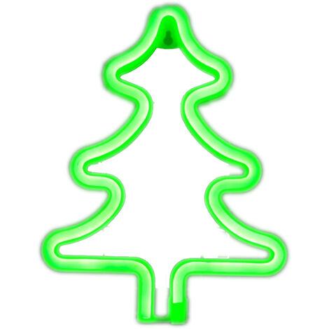 USB LEDNEON luz / con pilas Muestra de neon luces decorativas decoracion de la pared para el hogar fiesta (arbol de Navidad en forma de verde)