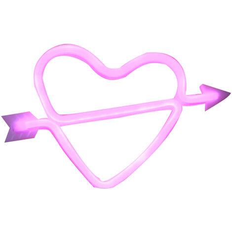 USB LEDNEON luz / con pilas Muestra de neon luces decorativas decoracion de la pared para el hogar fiesta (Cupido en forma de rosa)