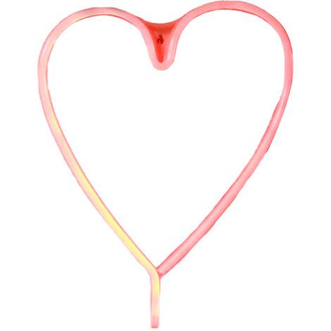 USB LEDNEON luz / con pilas Muestra de neon luces decorativas decoracion de la pared para el hogar fiesta (en forma de corazon-rojo)