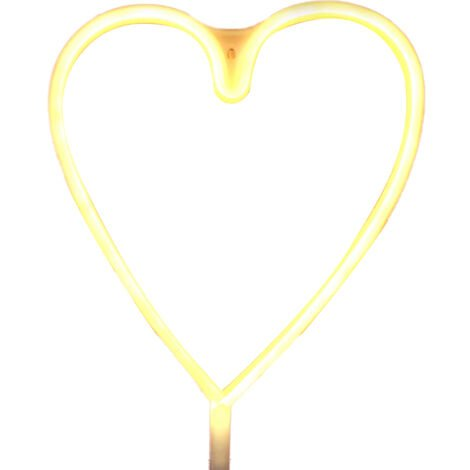USB LEDNEON luz / con pilas Muestra de neon luces decorativas decoracion de la pared para el hogar fiesta (en forma de corazon-White)