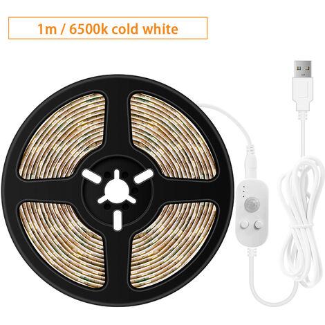 USB regulable LED luz de tiras sensores movimiento 1m 60LEDs luz de la cuerda para el fondo de TV computadora de escritorio la cocina del hogar Iluminacion decorativa, Blanco, 1m