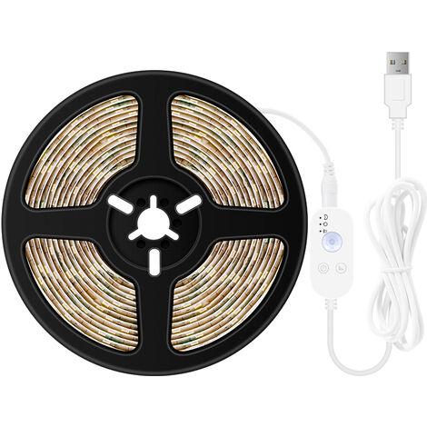 USB regulable LED luz de tiras sensores movimiento 2m 120Leds Luz de la cuerda para el fondo de TV computadora de escritorio Iluminacion decorativa, Blanco, 2m