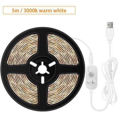USB regulable LED luz de tiras sensores movimiento 5m 300LEDs Luz de la cuerda para el fondo de TV computadora de escritorio Iluminacion decorativa, blanco caliente, 5m