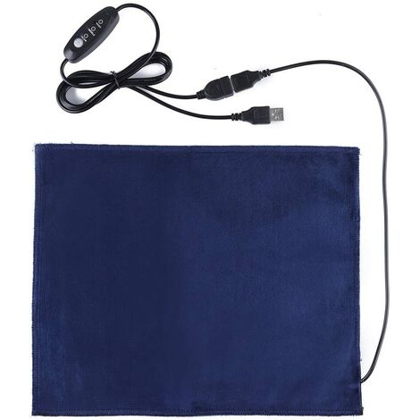 USB Tapis Chauffant pour Chat Chien Auto-Chauffant Couverture Peluche Température Constante Tapis de Chauffage Electrique pour Animaux (Bleu)