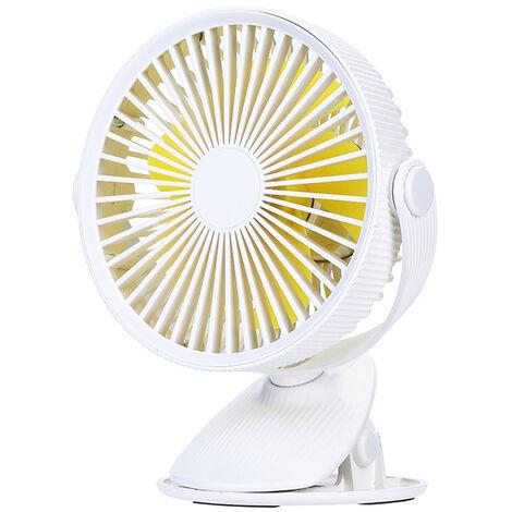 USB Ventilateur Pince 2021, Ventilateur Bureau avec Batterie Rechargeable, 3 Vitesses Rotation Silencieux Refroidissement Air pour Bureau Domicile Poussette,blanc
