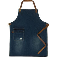 USKEES CHORLTON Denim Bib Apron - Vintage wash waiter barista leather straps Universal
