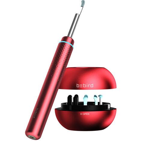 utiles de limpieza Bebird M9 Pro inteligente de alta definicion visual del oido del oido-cuchara palillo de endoscopio de 2,0 MP de alta precision en la oreja del oido Earpick Acusado de base magnetica, Rojo