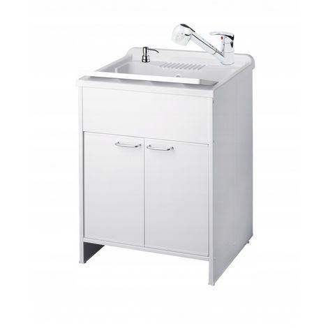 Utility chamber sink faucet cabinet dispenser