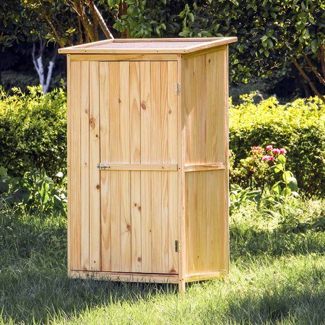 Utility shed wood natural colour 1 door 92x57x154cm tool cabinet outdoors