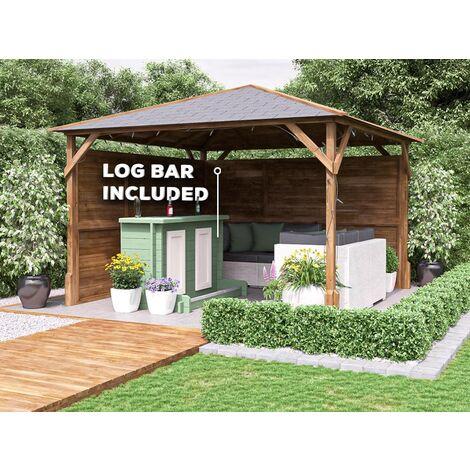 Utopia Garden Bar Gazebo W3m x D3m - Heavy Duty Garden Shelter with Log Bar Included