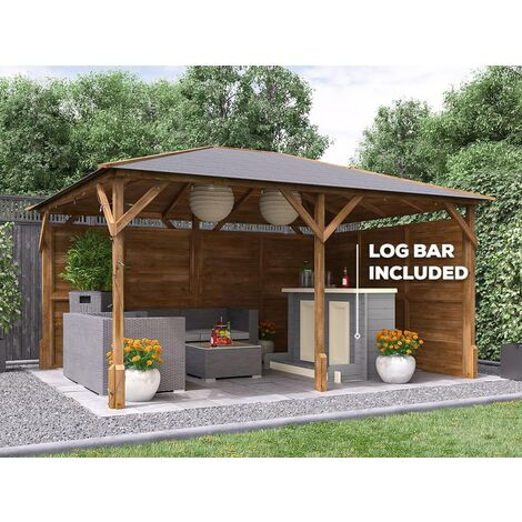 Utopia Garden Bar Gazebo W4m x D3m - Heavy Duty Garden Shelter with Log Bar Included