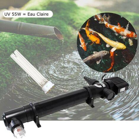 U.V 55W Stérilisateur - Clarificateur Pour Bassin De Jardin De 20 à 35 m³ + 1 Ampoule De Rechange - Noir