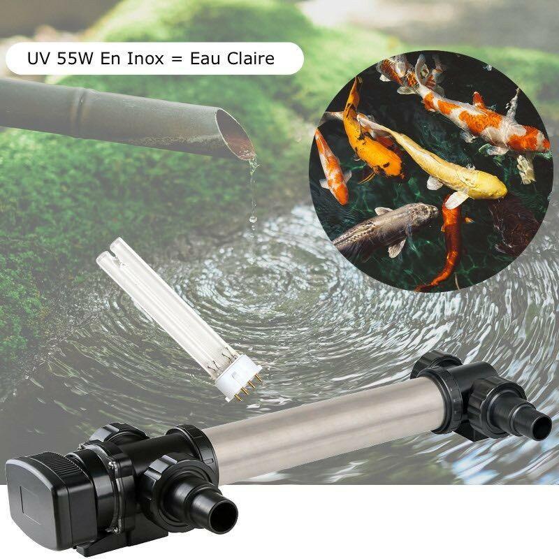 Le Poisson Qui Jardine - U.V INOX 55W pour bassin de jardin de plus de 20 m³ + 1 Ampoule Supplémentaire