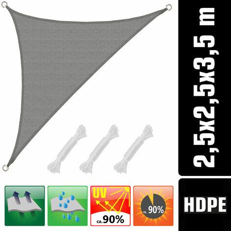 UV Sonnensegel 2,5x2,5x3,5 HDPE Dreieck Rechtwinklig Sonnenschutz Garten Grau