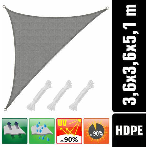 UV Sonnensegel 3,6x3,6x5,1 HDPE Dreieck Rechtwinklig Sonnenschutz Garten Grau