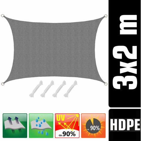 UV Sonnensegel 3x2 HDPE Rechteckig Sonnenschutz Überdachung Garten Balkon Grau