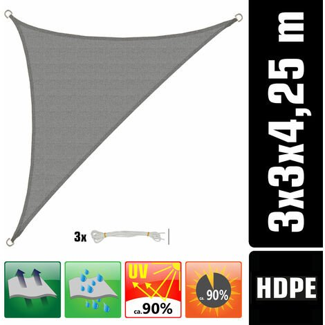 UV Sonnensegel 3x3x4,2 HDPE Dreieck Rechtwinklig Sonnenschutz Garten Grau