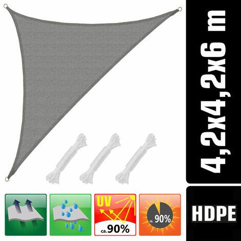 UV Sonnensegel 4,2x4,2x6 HDPE Dreieck Rechtwinklig Sonnenschutz Garten Grau