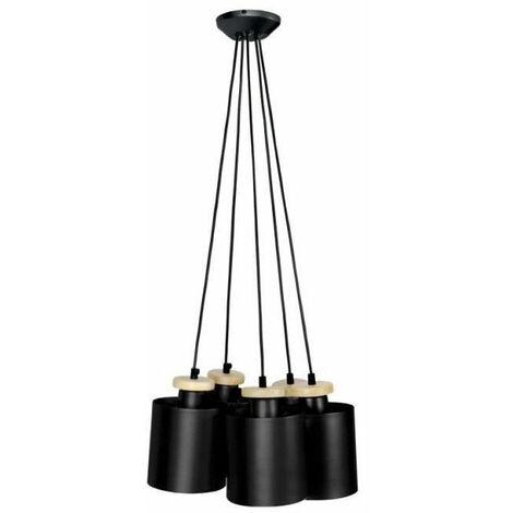 UZIBUZE Lustre 5 tetes en bois et acier - Ø45 x H90 cm - Noir - E27 5x40W