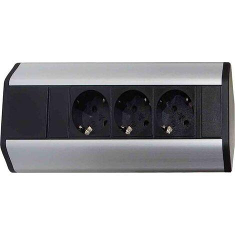V-Dock 3-fach Steckdose silberfarbiges Aluminiumgehäuse Q/V-DOCK3.ED Ecksteckdose Unterbau Küchensteckdose Steckdosenelement