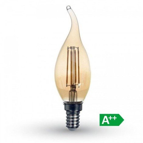 V-TAC - Bombilla led vela efecto llama filamento Gold Cover E14 2200K 4W 300°