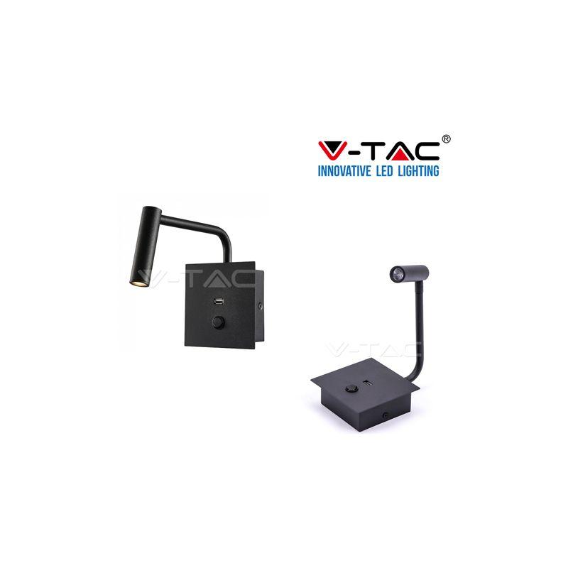 V-Tac Pro Vt-2943 Lampada Da Muro Applique Led Cree 3W Colore Nero Con Usb - S-DSHOP