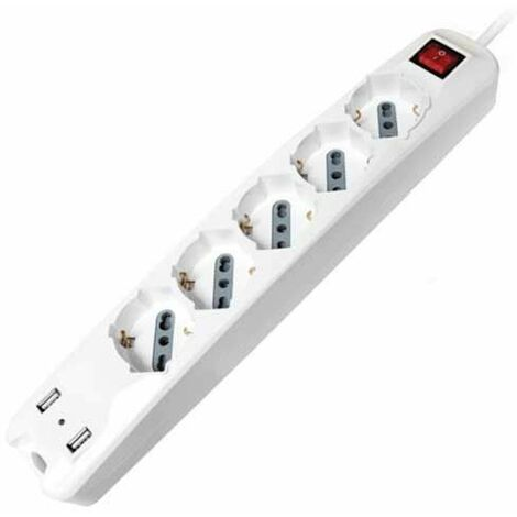 V-TAC Rallonge électrique Multiprise 5 x Schuko 10/16A 3500W + 2 usb chargeur 2.1A câble 1,5m avec interrupteur on/off - sku 8715