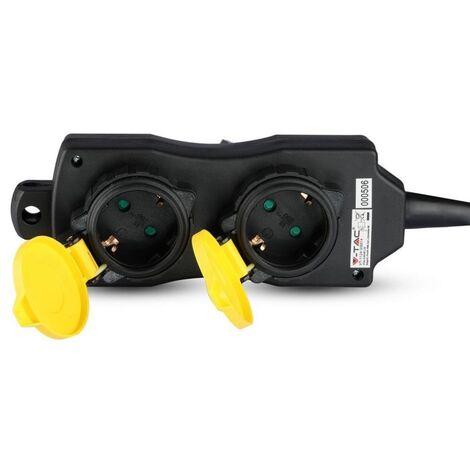 V-TAC VT-1124-3 Rallonge électrique Multiprise extérieure 4 x Schuko 16A EU standard câble 3m IP44 - sku 8814