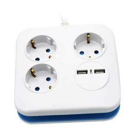 V-TAC VT-1153-2 Rallonge électrique Multiprise 3 x Schuko 10A EU standard 3680W + 2 usb chargeur câble 1,5m - sku 8799