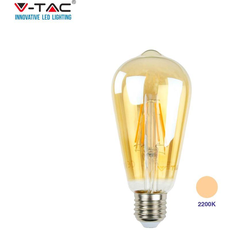 VT-1964 Lampadina LED 4W filamento E27 ST64 luce bianco caldo 2200K - 4361 - V-tac