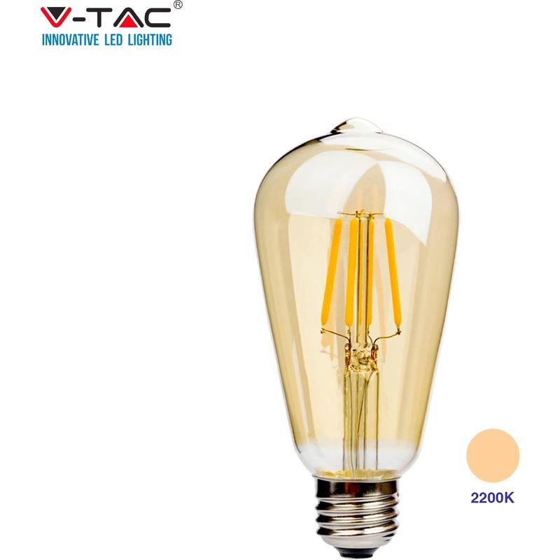 V-Tac Vt-1966 Lampadina Led E27 6W Bulb St64 Filamento Bianco Caldo