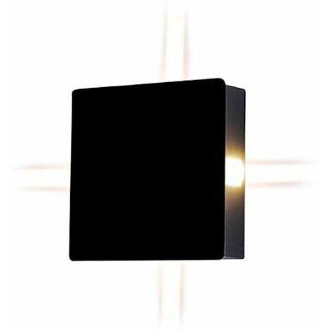 V-TAC VT-704 Applique murale LED 4W blanc neutre 4000K corps aluminium carré noir IP65 - SKU 8212