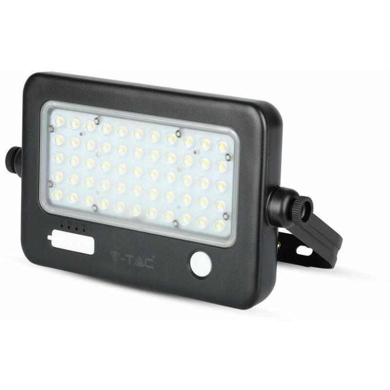 Faro LED con Pannello Solare 10W con Sensore PIR e USB Colore Nero 4000K IP65 - V-tac