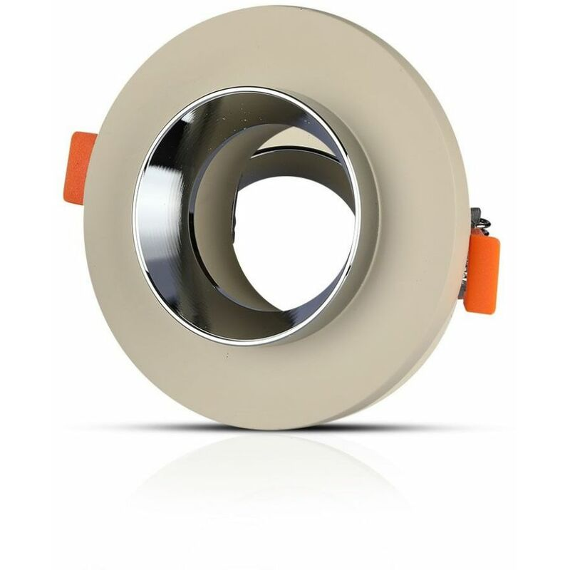 Portalampada LED da Incasso GU10 Corpo in Gesso Rotondo Colore Bianco con Finitura Cromata - V-tac