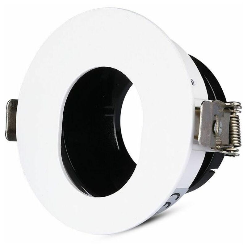 Portafaretto LED da Incasso GU10 Rotondo Orientabile con Foro Ovale Colore Bianco con Interno Nero - V-tac