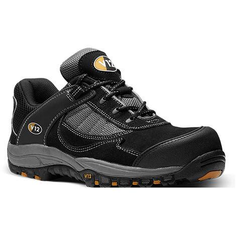 V12 Fastlane II Safety Work Trainer Shoes Black (Sizes 3-13)