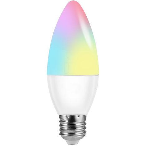 V16-C, Bombilla LED WIFI inteligente, Bombilla LED tipo vela RGB + W, 6W E27