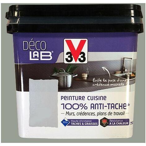 V33 Déco LAB Peinture Cuisine 100% Anti-Tâche Inox - 0,75 L