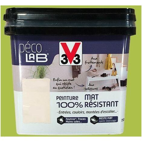 V33 Déco LAB Peinture mat 100% Résistant Vert feuillage 0,75 L - Vert feuillage