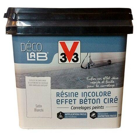 V33 Déco LAB Résine incolore Effet Béton ciré 0,75 L - Blanchi