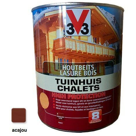V33 Lasure Bois Chalet Haute Protection Acajou 3L