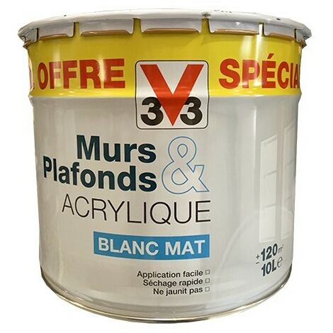 V33 Peinture Murs & Plafonds Acrylique Blanc Mat 10L 10 L - Blanc
