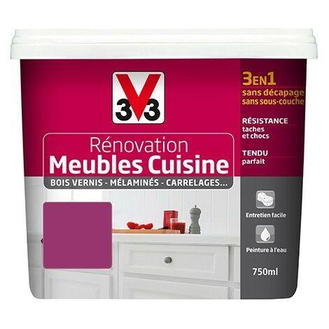 V33 Rénovation Meubles Cuisine (Bois vernis-Mélaminés-Stratifiés) Satin Fuchsia 0,75 L - Fuchsia