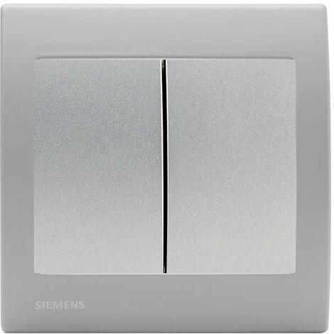 Va et Vient + Poussoir Silver Delta Iris + Plaque basic Silver - SIEMENS