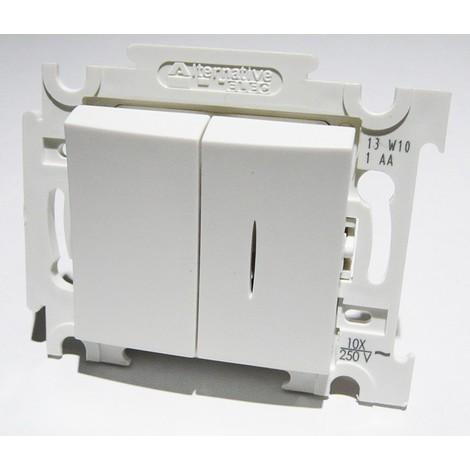 Va et vient + va et vient lumineux blanc 10A 250V encastré connexion auto fixation vis sans plaque ALTERNATIVE ELEC AE52004